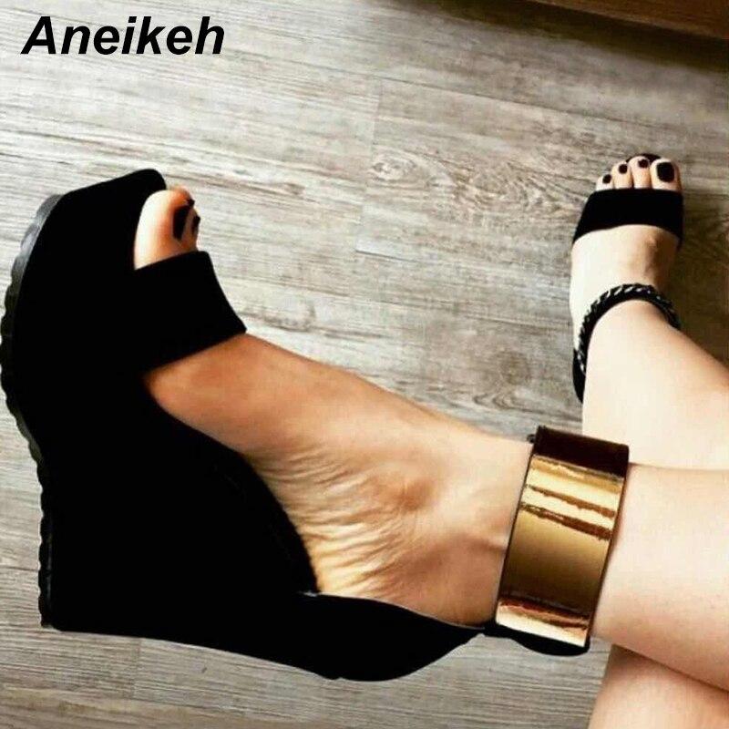 Aneikeh mujeres sandalias de cuña verano 2019 nuevas sandalias de plataforma zapatos de tacón alto correa de tobillo Bling señoras sandalias bombas tamaño 35-40
