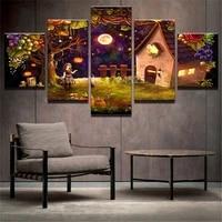 Peinture toile a la mode 5 panneaux   Imprimes dart muraux  affiches dhalloween  decoration de la maison  images modulaires pour le salon