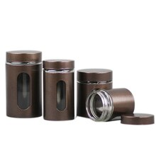 Xin Jia Yi Packaging Tin Glass Bottle Round Screw Window Canister Tea Coffee Sugar Nuts Jar Storage Glass Bottles Bins