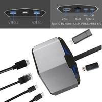 USB3.1 Usb Hub Type C to HDMI USB3.0 RJ45 Adapter for MacBook Samsung Dex S8/S9 Huawei P20 Pro usb c Adapter Thunderbolt 3 Dock