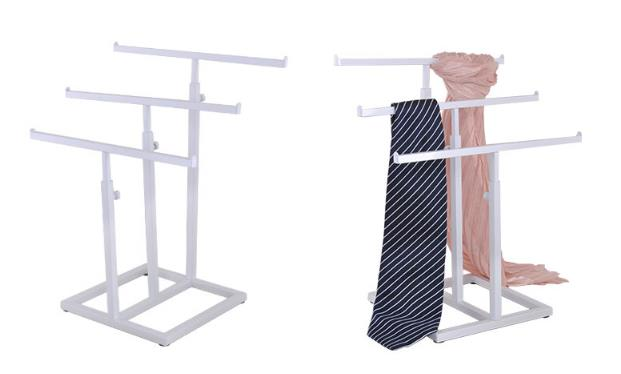 Promotion scarf storage rack high quality Stainess steel necktie silk scarf shelf holder adjustable tie wig purse display stand