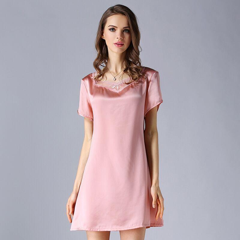 High-grade 100% Real Silk Women Nightgowns Summer Short Sleeve Nightdress Female Mulberry Nightwear Night Dress Sleepwear