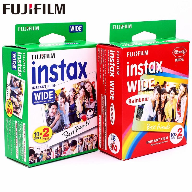 Оригинальная 40 листов Fujifilm Instax Wide White edge + широкая радужная пленка для камеры Fuji Instant Photo paper 300/200/210/100/500AF
