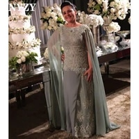 nyzy m162 robe soiree dubai lace appliques cape long sleeve mother of the bride dresses plus size elegant abendkleider 2019