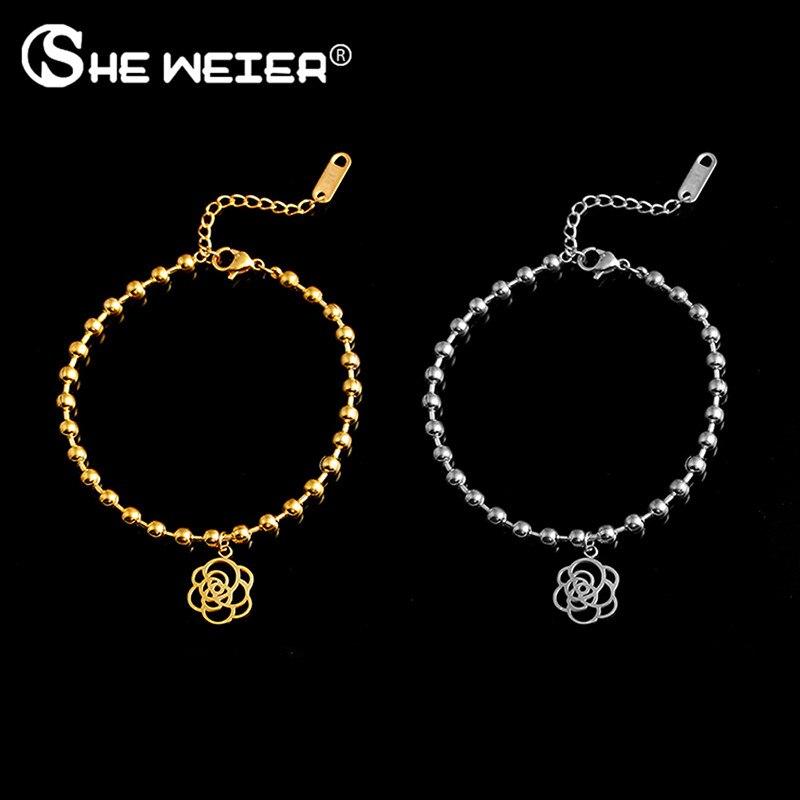 Ella WEIER de cadena de acero inoxidable enlace par brazalete para las mujeres pulsera de perlas brazaletes encanto mujer femme oro rosa