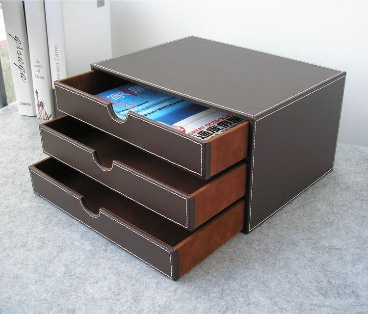 Horizontal 3-capa 3-cajón estructura de madera cuero escritorio archivador caja de almacenamiento organizador de Oficina documento contenedor brown217B