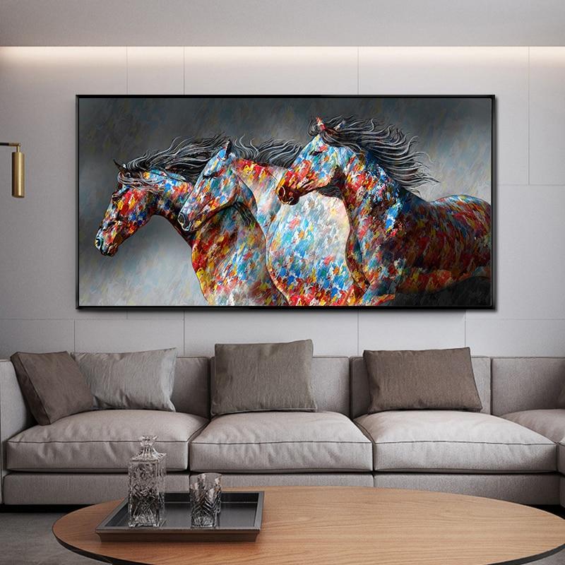 Carteles de pintura al óleo de pared corriendo lienzo de caballo pintura arte de pared imagen animales salvajes lienzo imágenes para sala sin marco