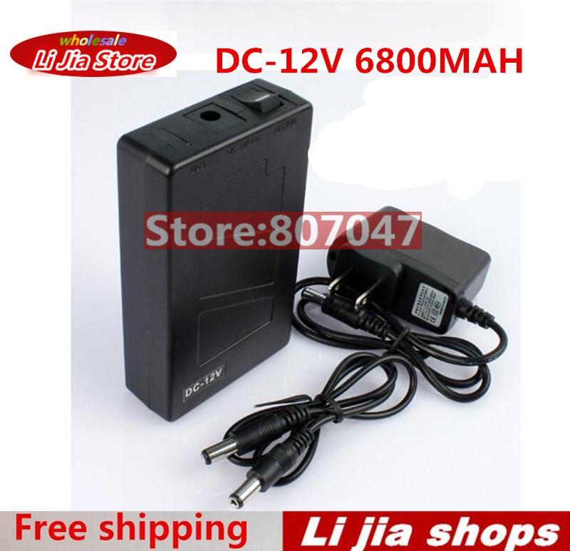 Portátil Super Capacidad recargable batería de iones de litio DC 12V 6800mAh de la UE/US plug para CCTV Cam Monitor envío gratis