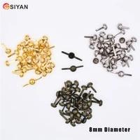 100pcs 8mm silver tone metal crafts round purse feet rivets studs pierced fit punk rock rivets embellishment diy crafts
