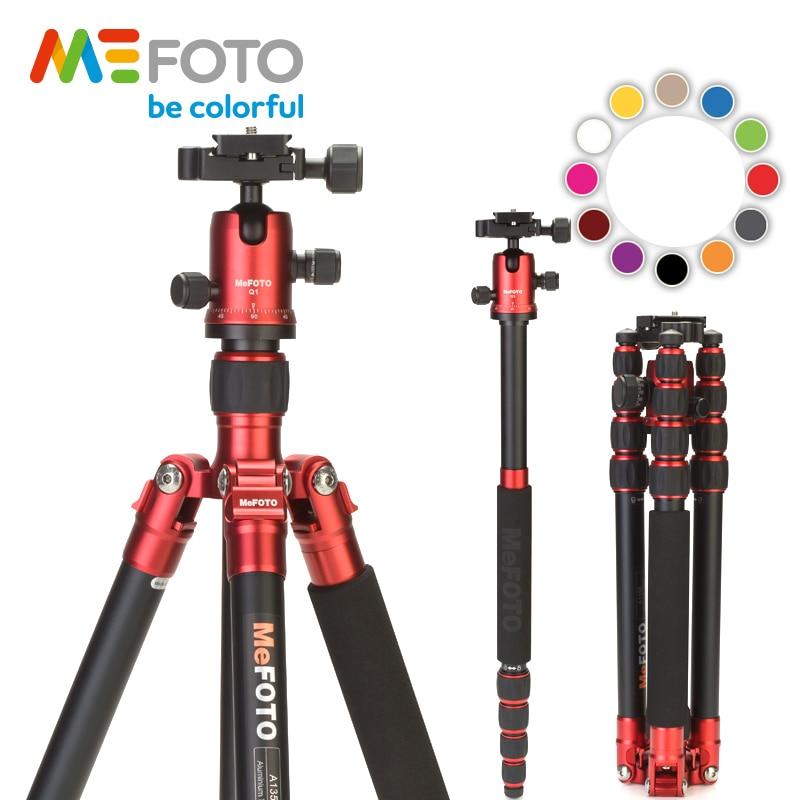 MeFOTO-حامل ثلاثي القوائم من الألومنيوم A1350Q1 ، ألوان معدنية ، للكاميرا ، السفر ، Monopod ، Dslr ، قابل للتمديد حتى 61.6 بوصة