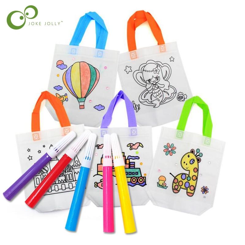 Marcadores de Graffiti, bolso pintado, imágenes no tejidas para colorear, Kit de Material de Arte de Graffiti para niños de guardería, bolsa de juguete de dibujo GYH