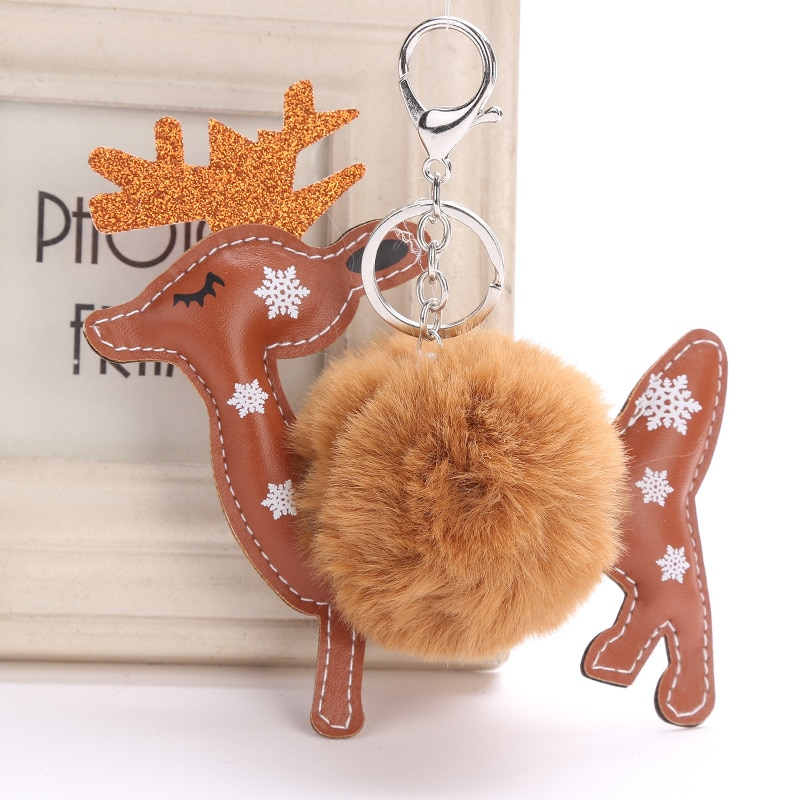 Reindeer Fur Ball Keychain Bag Charms Pendant Xmas Elk Cute Key Ring Cover Holder Llavero Pompon Sleutelhanger Trinket Chaveiro