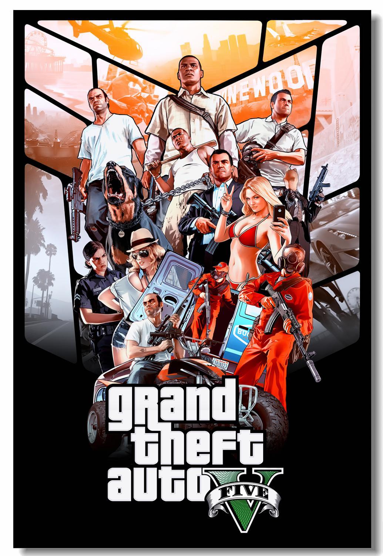 Lienzo personalizado, arte Grand Theft, cartel de coche GTA 5, San Fondo de pantalla del juego, Gran Robo, pegatinas de pared, Mural, decoración del hogar #781 #