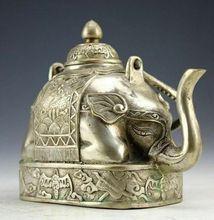 Chinese Rare Miao Prata Escultura Riqueza Animal Elefante Forma Bule de Chá Kungfu Jogo de Chá Bule de chá Pote de Água