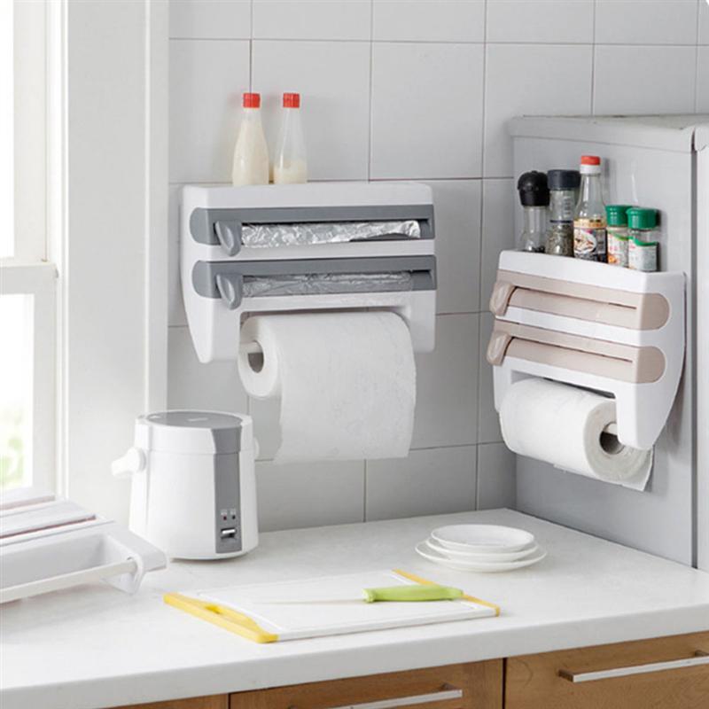 Multifunctional Home Kitchen Film Sauce Bottle Storage Rack Paper Dispenser Preservative Film Rack Kitchen Product Accessory