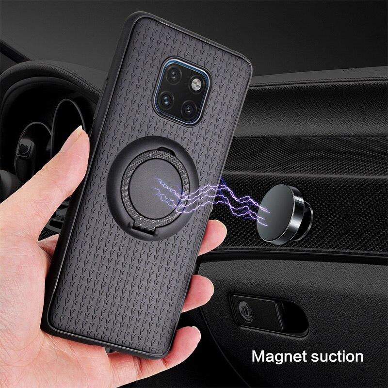 Fundas magnéticas de coche para Huawei Mate 20 10 9 P10 P20 P30 lite Pro Plus P8 Lite (2017), funda de TPU, anillo para dedo de silicona, carcasa, Fundas, Capa