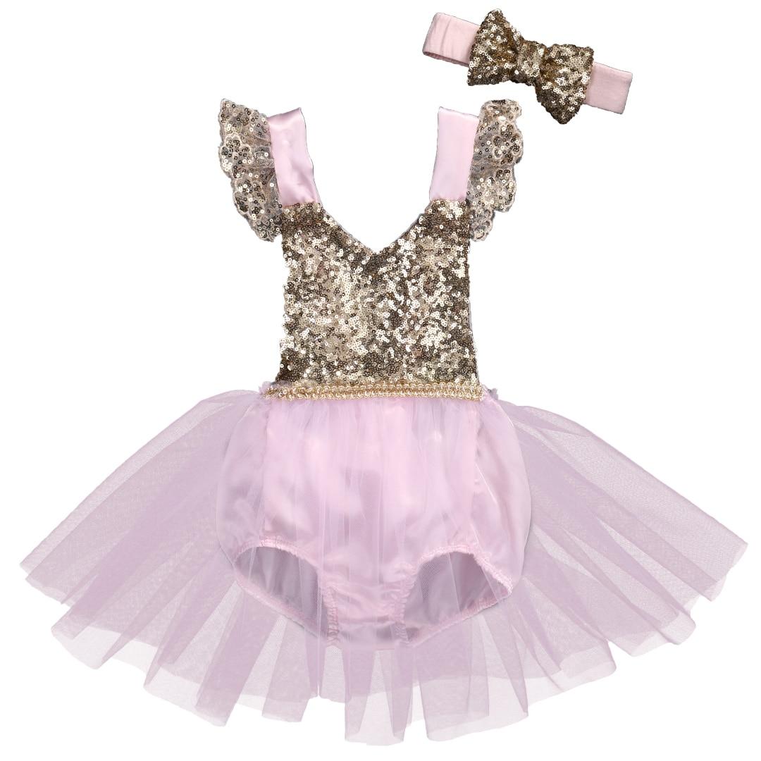 Bebê menina moda impressão bonito lantejoulas verão o pescoço manga curta tutu vestido princesa