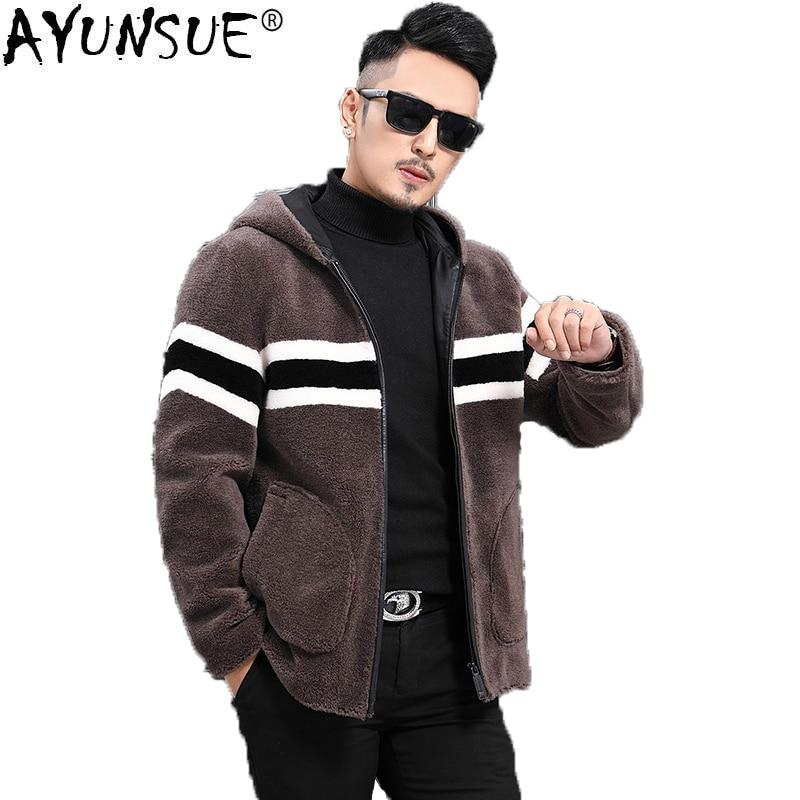 Ayunsu شتاء جديد معطف الفرو الحقيقي الرجال 100% الصوف سترة الأغنام القص قصيرة الرجال معطف الفرو مقنعين بلوسون أوم L18-3413 KJ1460