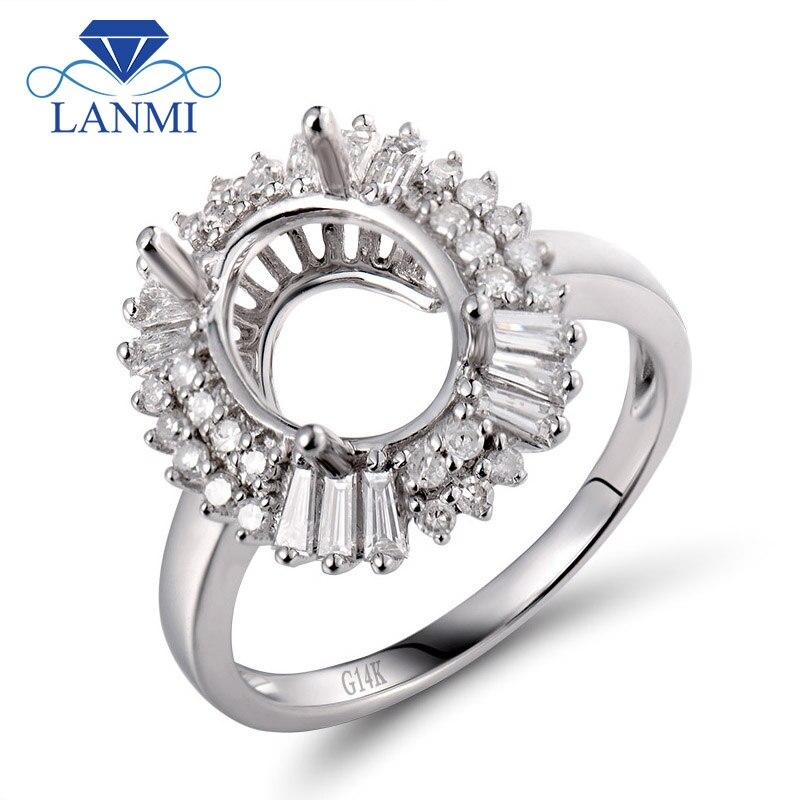 Corte ovalado 8x10mm Semi montaje anillo de compromiso ajustes 14K oro blanco diamante Baguette anillos diamante joyería SR00180