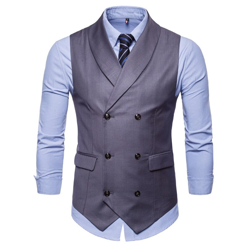 Chaleco de marca sin mangas para hombre, chaleco de moda para hombre estilo británico, chalecos Vintage de mezcla de algodón con doble botonadura