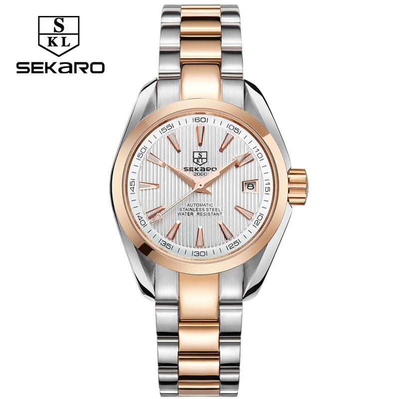 SEKARO Business Luxury Women Watches Steel Waterproof Watch Woman Automatic Mechanical Calendar Watch Relogio Feminino For Gift enlarge