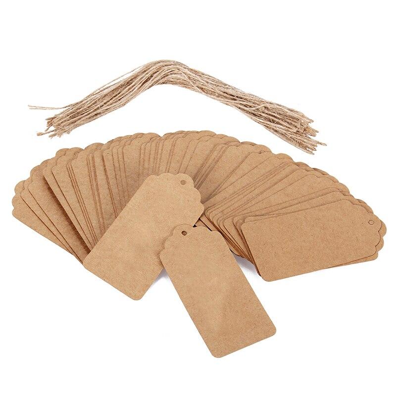 100 Uds marrón etiquetas colgantes de papel kraft boda fiesta Favor golpe precio de la etiqueta tarjetas de regalo + torzales