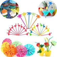 Летняя Вечеринка DIY Коктейльные зонтики бумажный зонтик торт Топпер выбирает Гавайские украшения для пляжной вечеринки сок Напиток мешалки для вечеринки