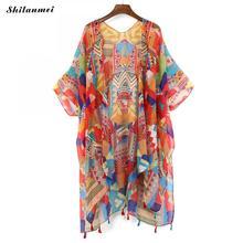 Kleurrijke Bloemen Kimono Mujer 2019 Bluse Feminino Zomer Strand Lange Vest Vrouwen Vintage Boho Blouse Top Kimono Femme Shirt