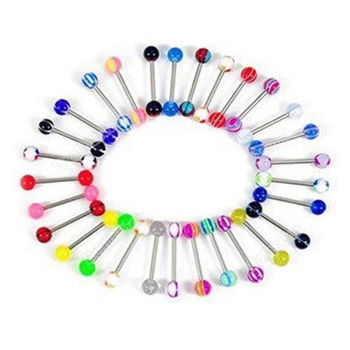50 шт 14 г разноцветные шарики для сосков и языка, барная штанга, кольцо для пирсинга, украшения для тела