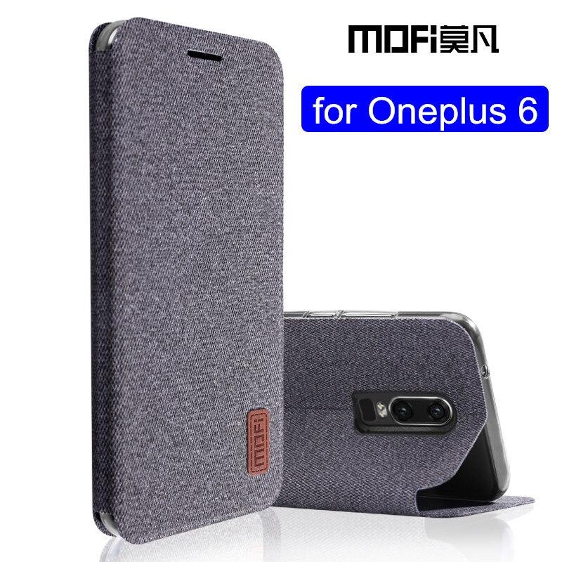 Oneplus 6 Чехол 1 + 6 флип-чехол из силиконовой ткани защитный чехол oneplus6 capas kickstand MOFi оригинальный чехол one plus 6