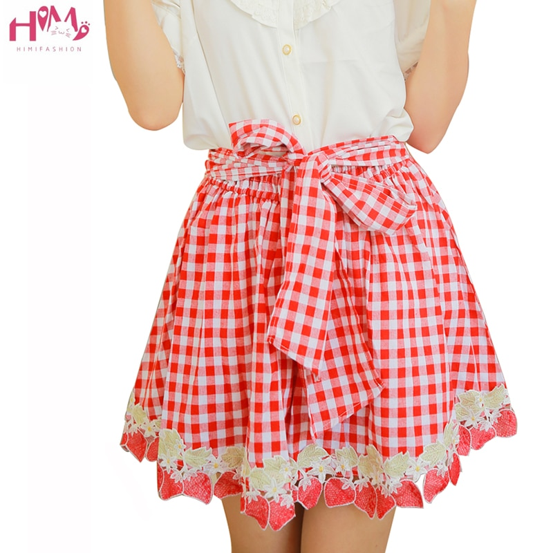 Estilo Preppy faldas a cuadros mujeres Kawaii Harajuku bordado de fresa Mini faldas Lolita Saias Bow cintura elástica A-line faldas