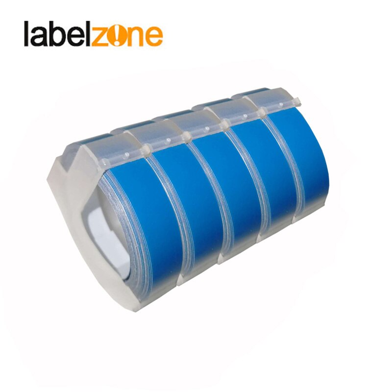 Pack de 5 9mm azul lago 3D grabado de PVC cinta de etiquetas Compatible Dymo 1610 Manual 12965 impresora de etiquetas para Motex E101 etiqueta fabricantes