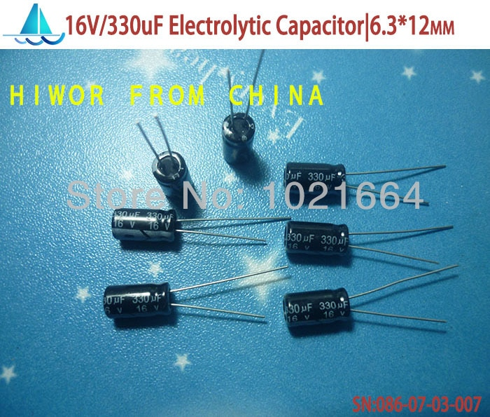 (100pcs/lot)(Electrolytic Capacitors 16V) 330uf 16V Electrolytic Capacitor, size: 6.3mm*12mm