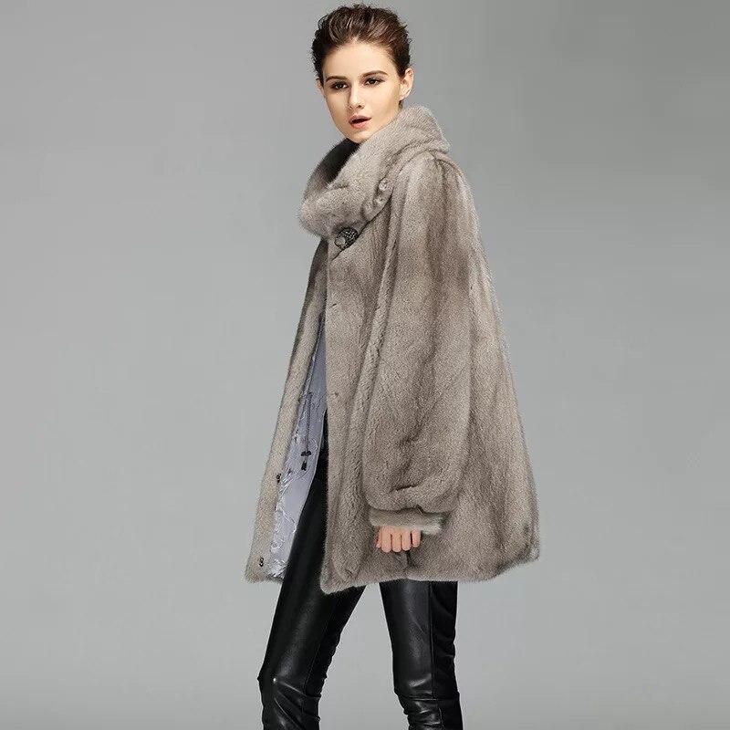 2017 Brand luxury women natural mink fur jacket long style With sashes  elegant lady high quality winter fur coat  TU144-073