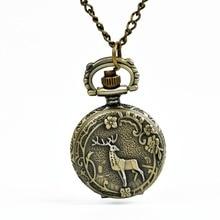 Mini reloj de bolsillo de cuarzo Vintage 6111 clásico dentro de arábigo número colgante de bronce flor árbol con collar
