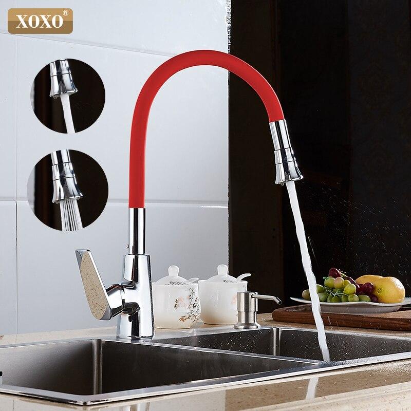 XOXO Küche Wasserhahn Kalt und Hot Orange Halter Single Loch 360 grad rotation Mischbatterie Cozinha Torneira Mischbatterie 1302