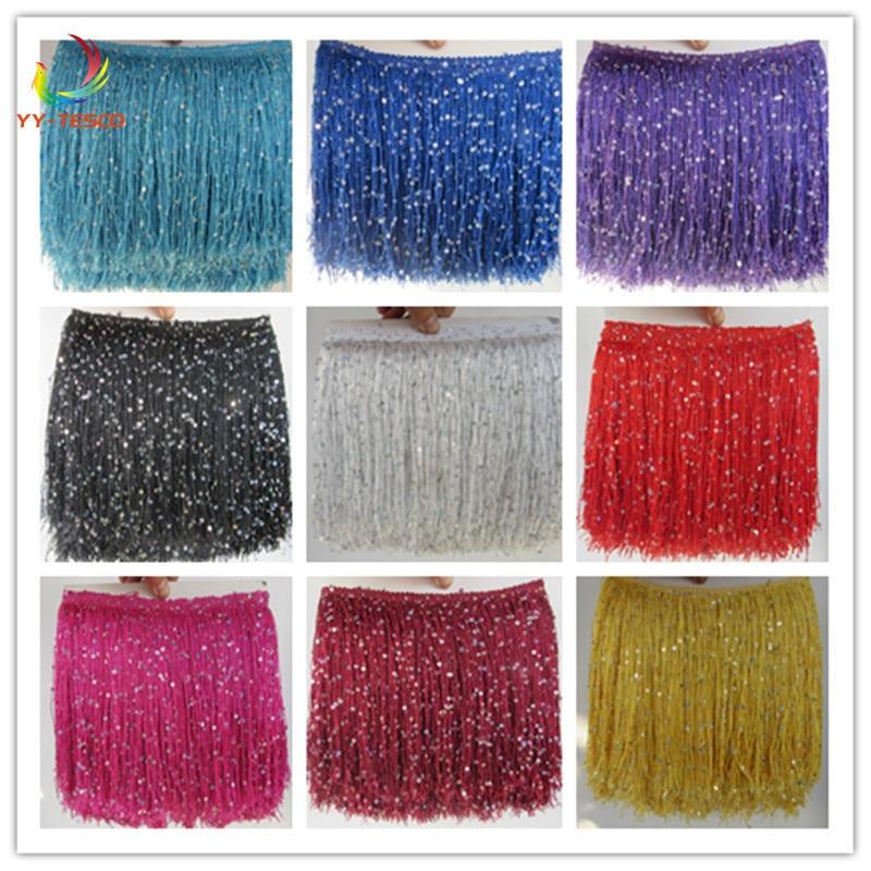 Polyester Trimming Tassel 10 Yards/Lot Fringe Tassel Lace Ribbon Trim 20cm long Latin Dance dress clothing Macrame decoration