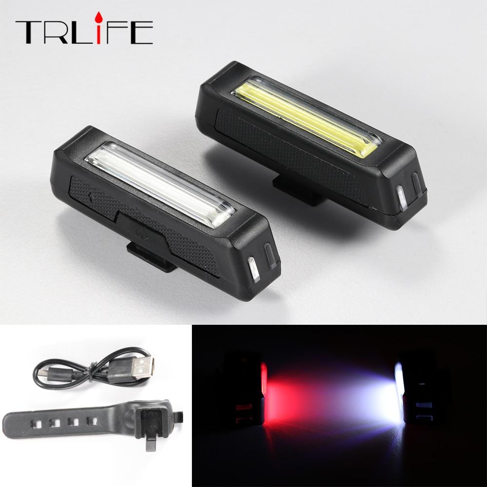 COB водонепроницаемый USB Перезаряжаемый велосипедный фонарь высокой яркости, красный светодиод 100 люмен, передняя/задняя подсветка для велос...