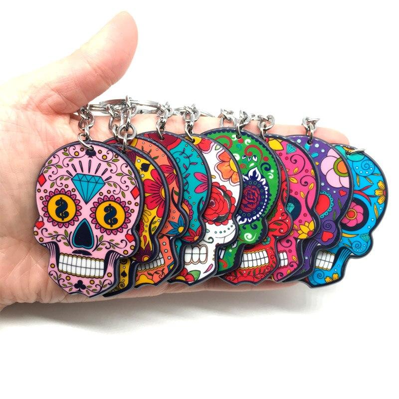 Брелок для ключей Calavera, милый, прикольный, с рисунком в виде черепа, брелок для ключей, для празднования мексиканского Дня мертвых, Хэллоуина, акриловая сахарная цепочка для ключей с черепом