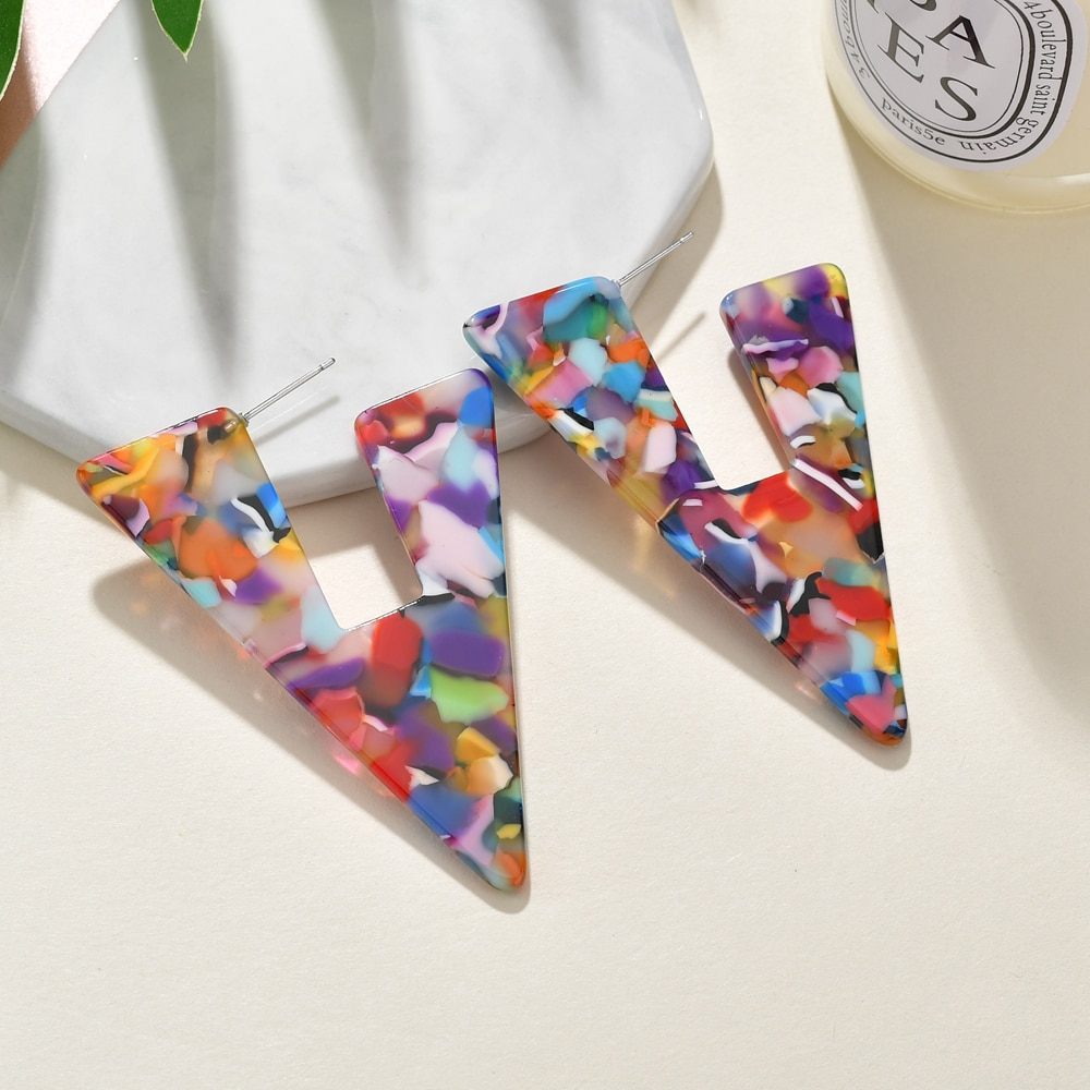 Pendientes colgantes de acrílico coloridos de acetato para mujer, joyería Bohemia MESTILO 2019, aretes de carey triangulares para niñas