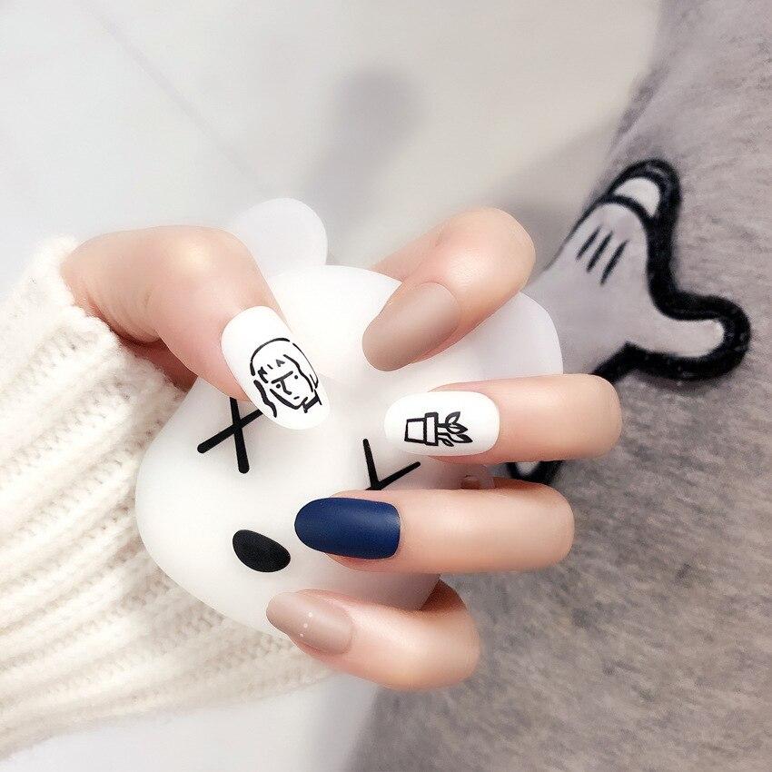 24 шт., новые модные матовые накладные ногти Мори с головой девушки, в горшках, белые, синие, телесные, накладные ногти с клеем, стикер