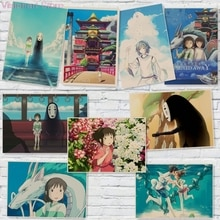 Pósteres de Anime de viaje Hayao Miyazaki, adhesivo con diseño de película para pared, decoración del hogar Vintage MO93