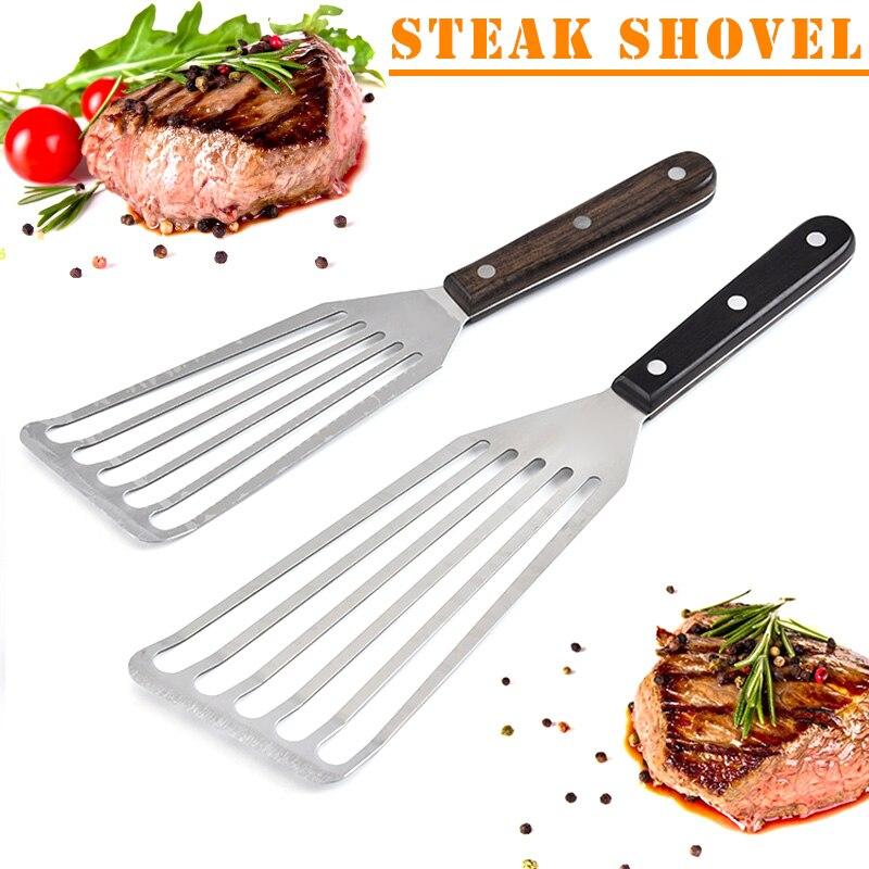 Espátula para pescado ranurada de acero inoxidable, espátula Flexible para barbacoa, cocina, 1 Uds.