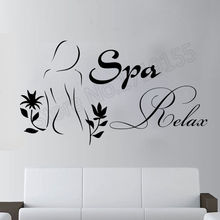 Meisjes Beauty Salon Muurtattoo Moderne Ontwerp Citaten Spa Relax Vinyl Muurstickers Cosmetische Badkamer Interieur Vrouw Patroon SYY843