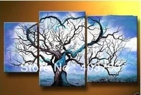 buy at disscount price modern abstract oil painting on canvas blue sky abstract tree landscape no framed free shipping