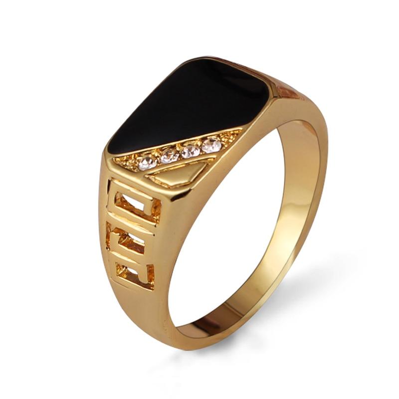 Ajojewel Size 7-12 Classic Gold-color Rhinestone Men Ring Black Enamel Male Finger Rings Best Selling