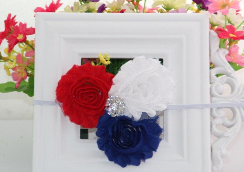 $Number de julho américa azul branco vermelho patriótico gasto Rosette flores Rhinestone FOE Elastic Headbands