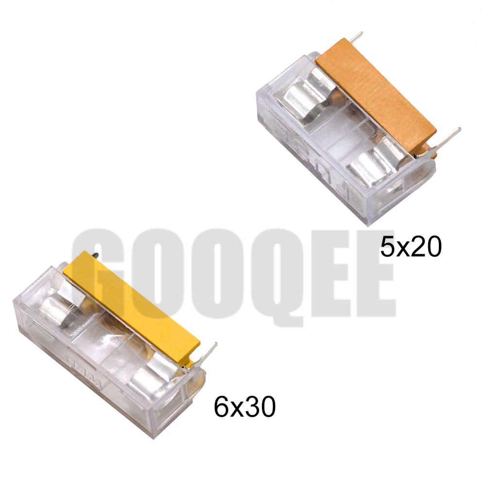 Portafusibles de vidrio de 5*20mm 6*30mm, soporte transparente con bloque de fusibles con tapa transparente 5x20mm 6x30mm, encabezado de seguro de 250V