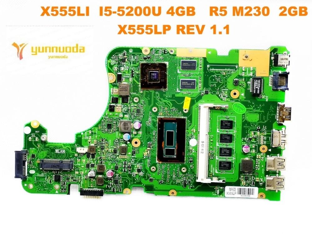 الأصلي ل ASUS X555LP اللوحة الأم للكمبيوتر المحمول X555LI I5-5200U 4GB R5 M230 2GB X555LP REV 1.1 اختبار جيد شحن مجاني