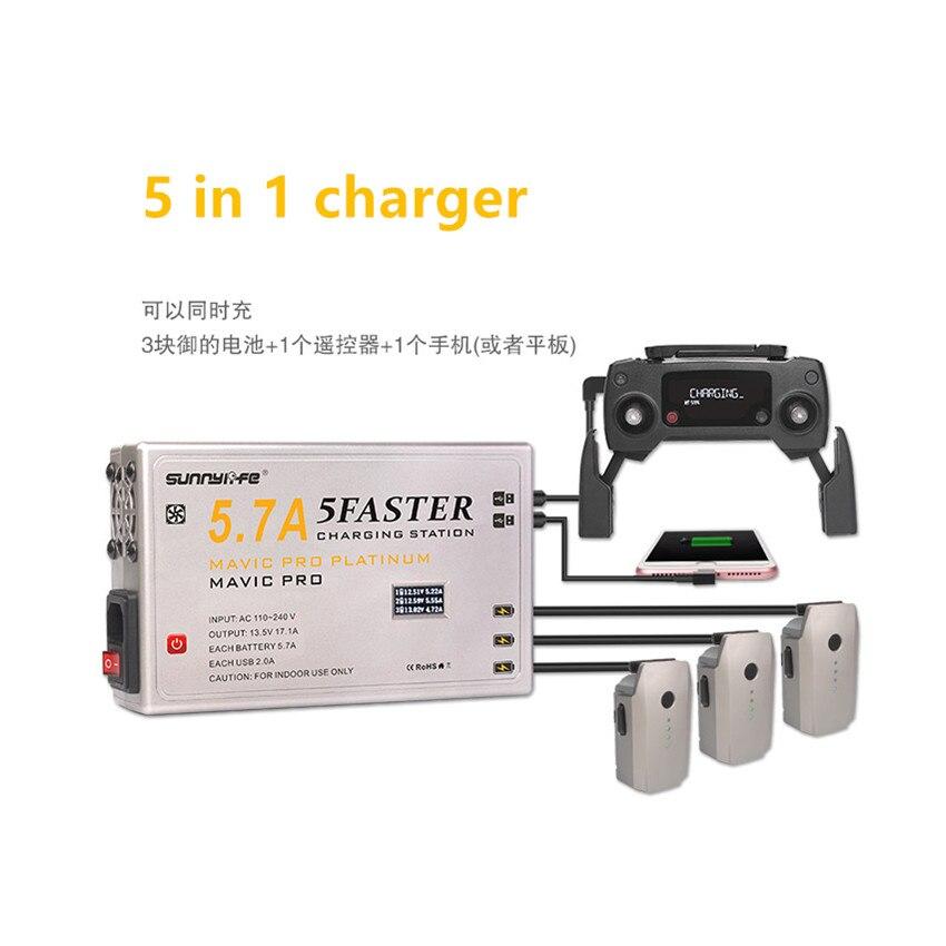 5 in1 5.7A Großen Strom Batterie Controller Smartphone Tablet Schnelle Ladegerät w/OLED Display für DJI Mavic Pro Drone batterie